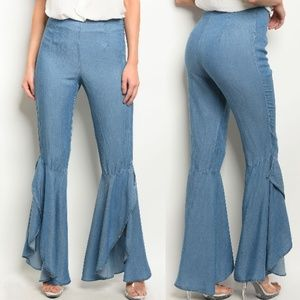 Denim - High/Low Flare Frayed Hem Jeans